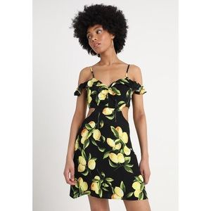 🆕 Black Lemon Print Cut Out Mini Dress